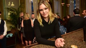 The actress Julia Stiles of the upcoming show Riviera at the bar.